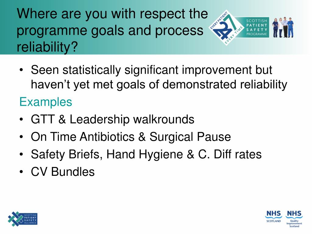 Where are you with respect the programme goals and process reliability?