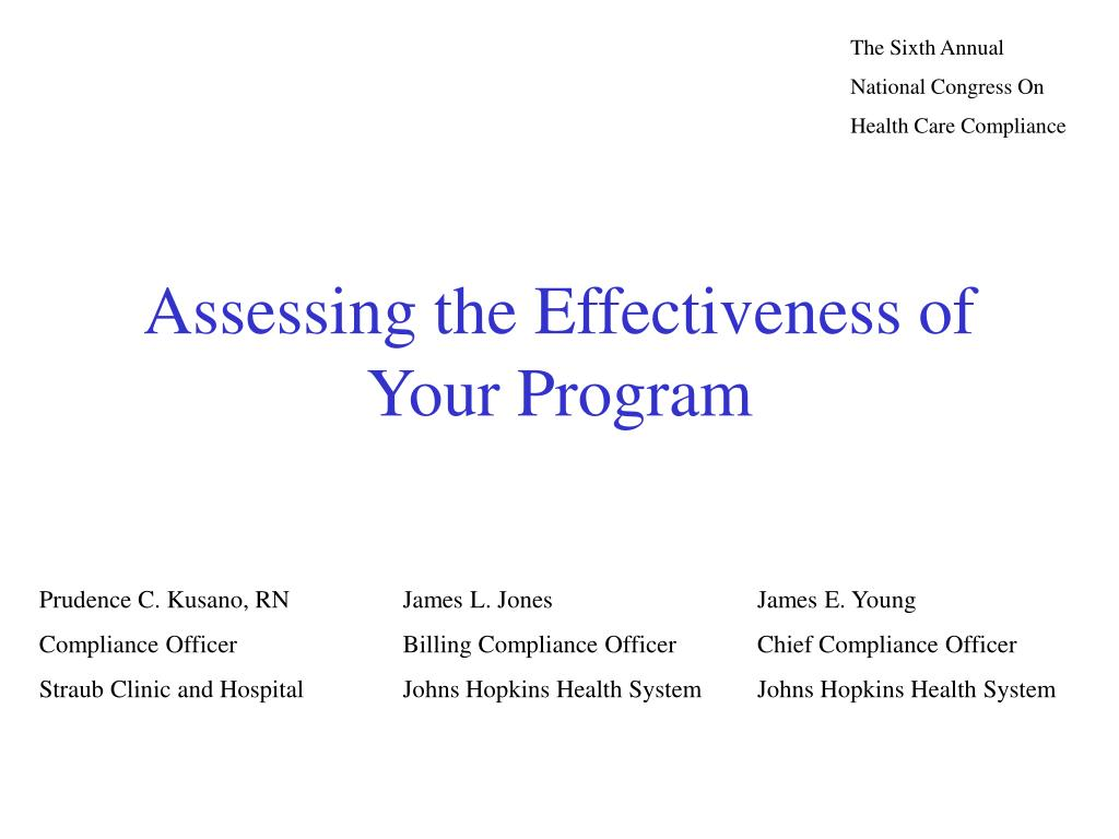 assessing the effectiveness of your program l.