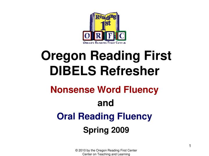 oregon reading first dibels refresher n.