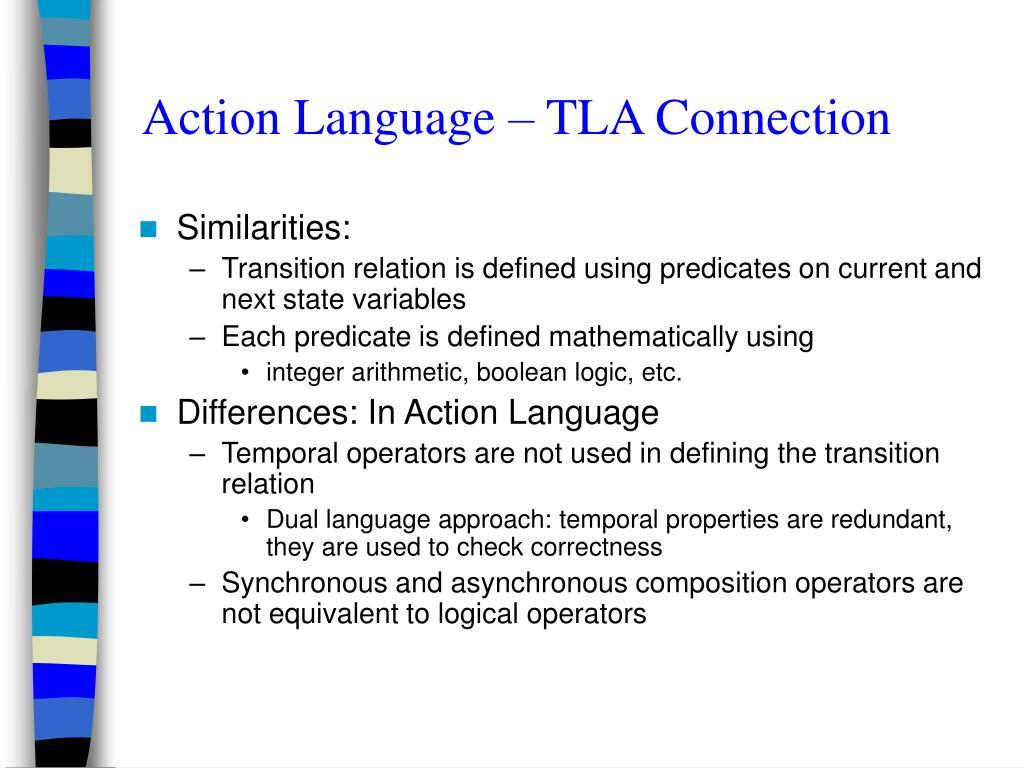 Action Language – TLA Connection