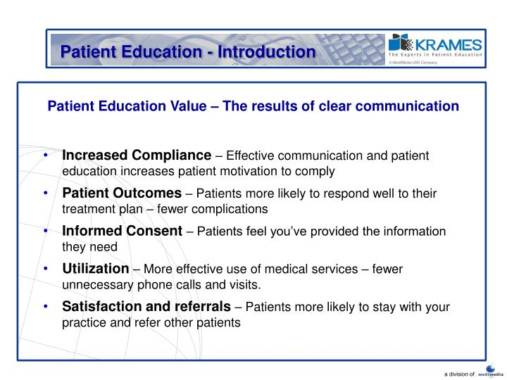 Patient education value the results of clear communication