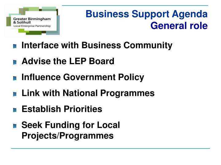 Business Support Agenda