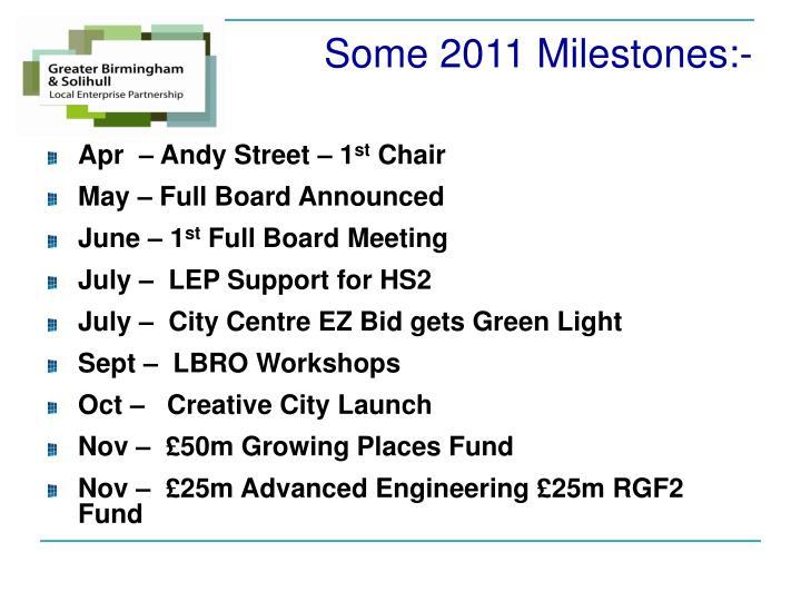 Some 2011 Milestones:-
