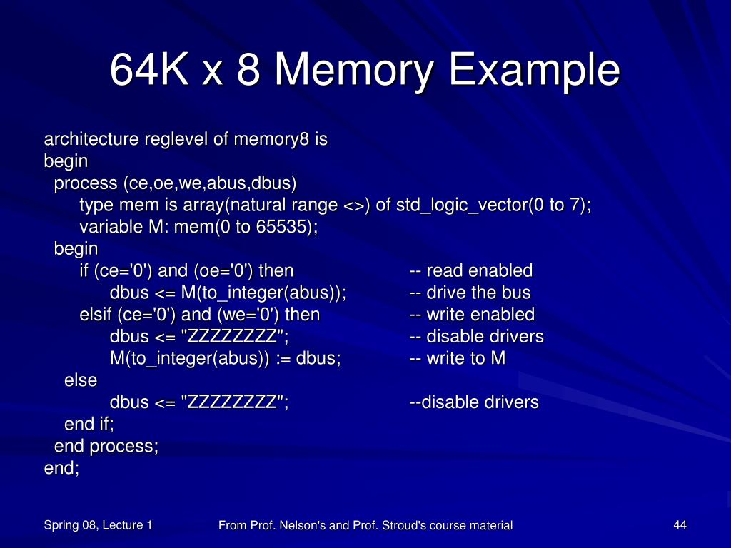 64K x 8 Memory Example