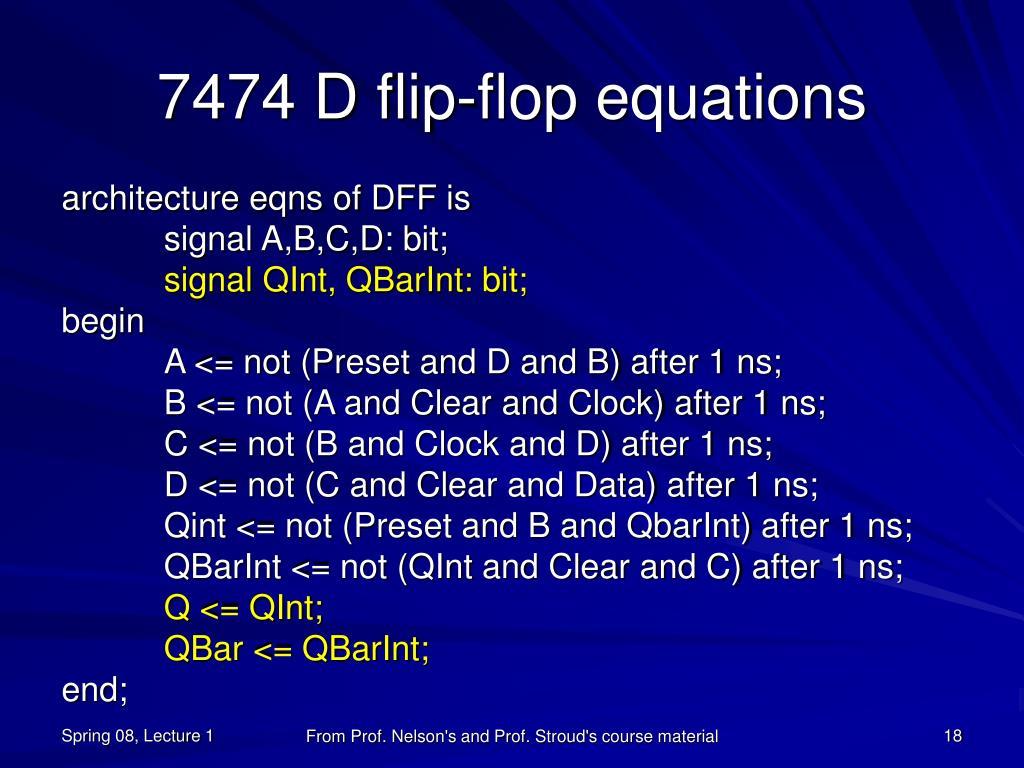 7474 D flip-flop equations