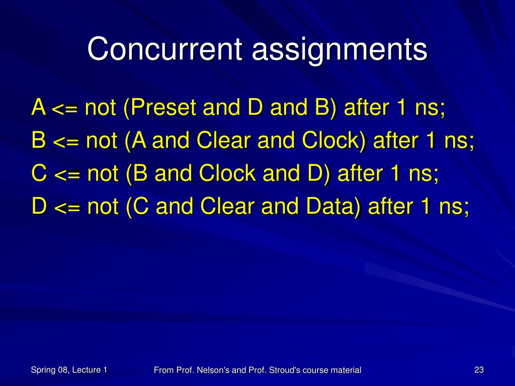 Concurrent assignments