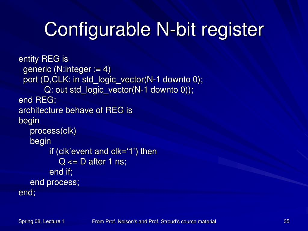 Configurable N-bit register