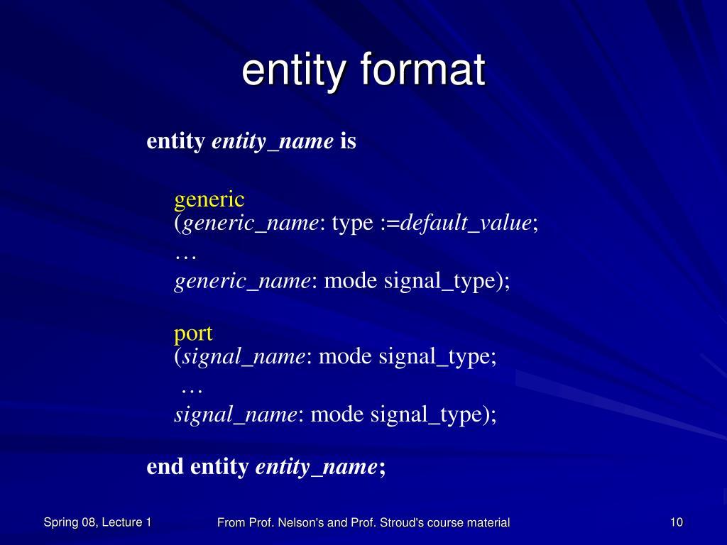 entity format