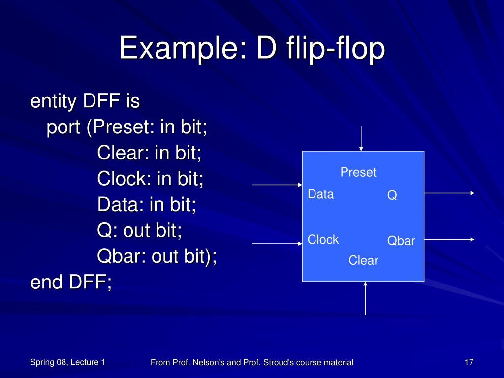Example: D flip-flop