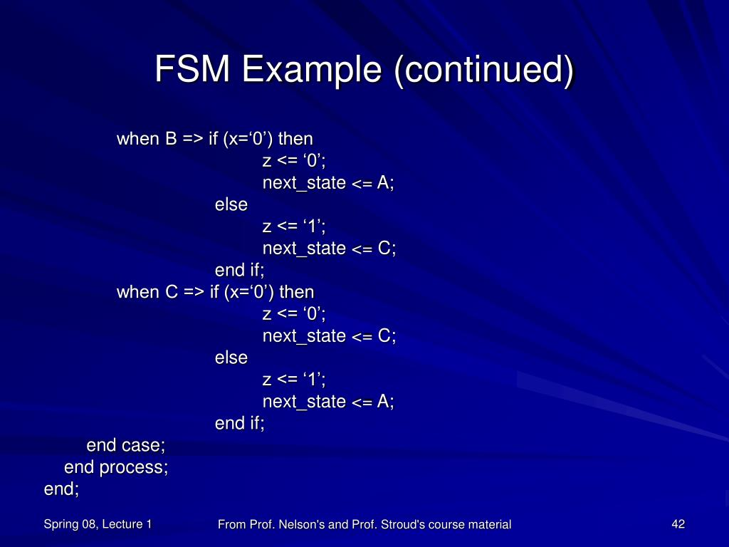 FSM Example (continued)