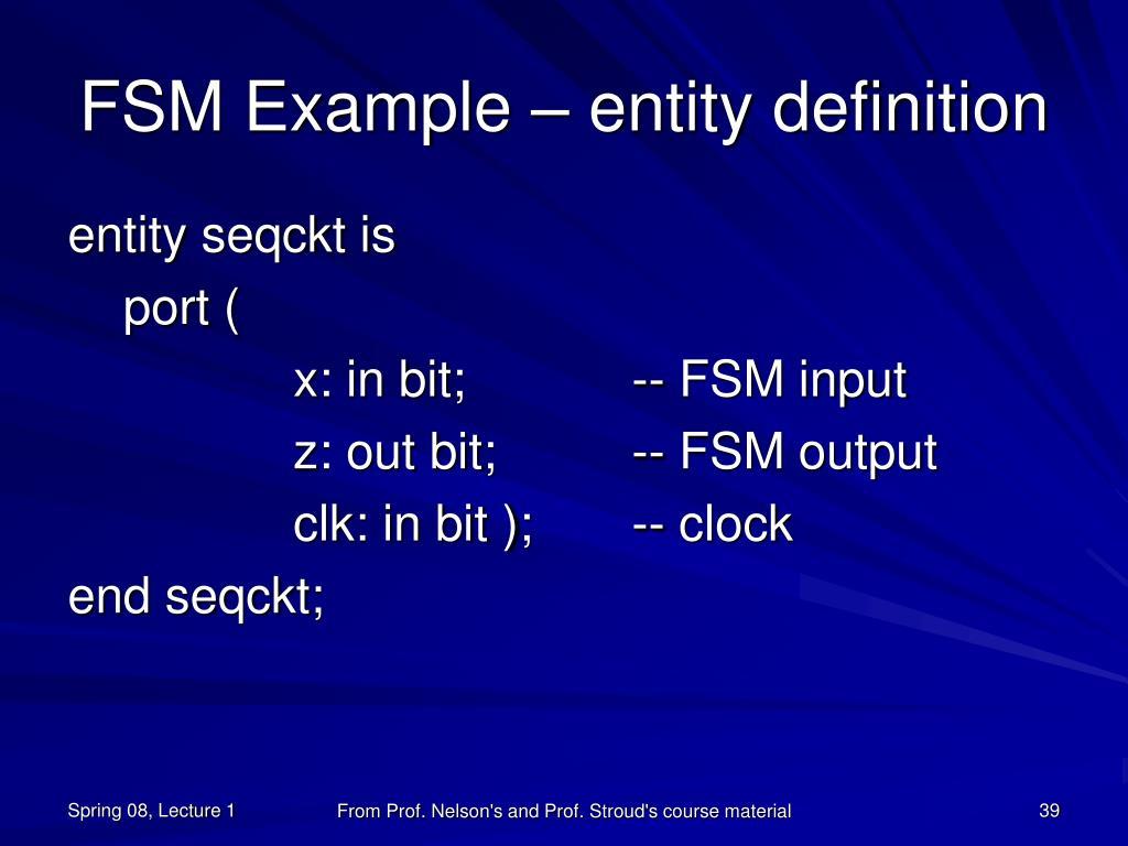 FSM Example – entity definition