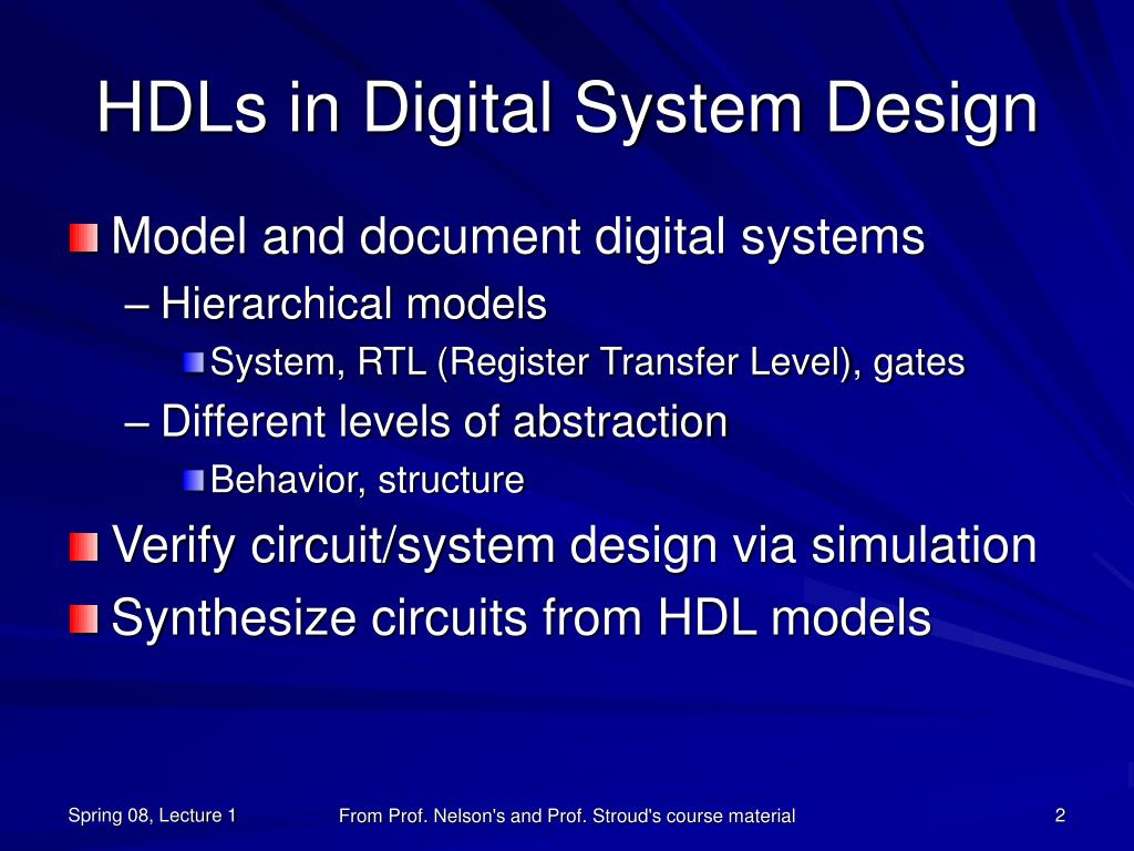 HDLs in Digital System Design