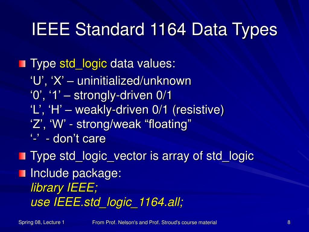 IEEE Standard 1164 Data Types