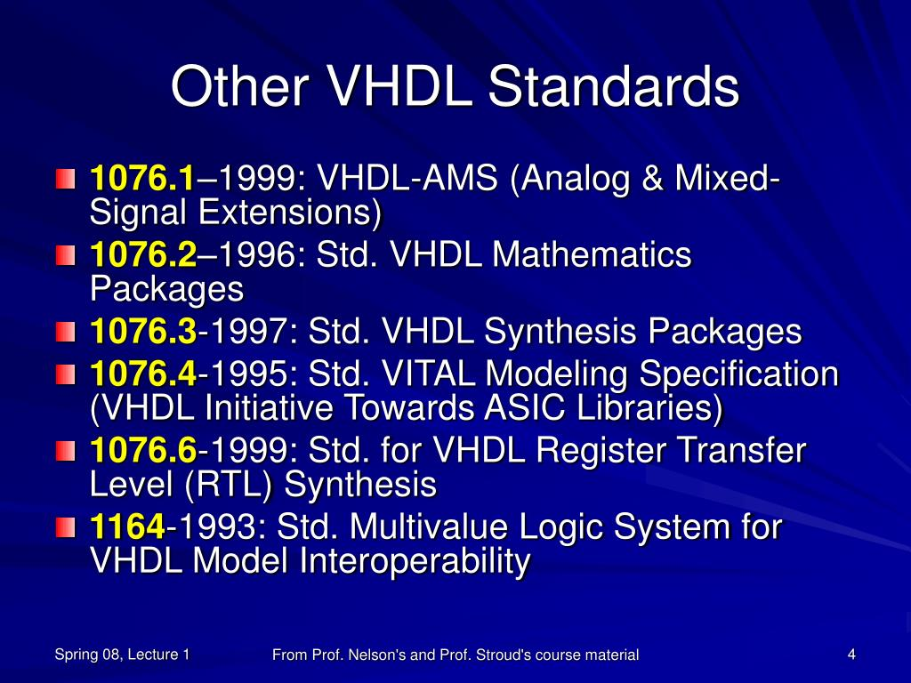 Other VHDL Standards