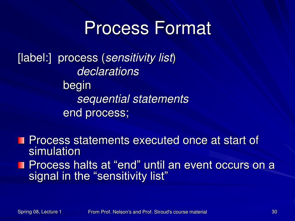 Process Format