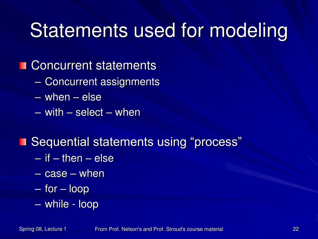 Statements used for modeling