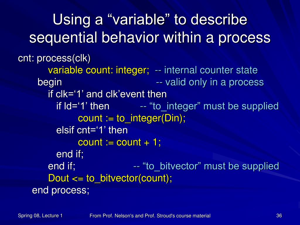 """Using a """"variable"""" to describe sequential behavior within a process"""