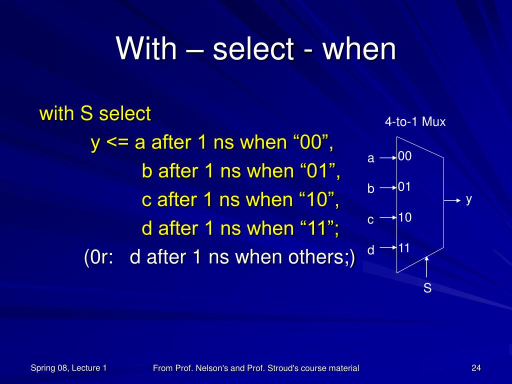 With – select - when