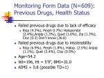 monitoring form data n 609 previous drugs health status