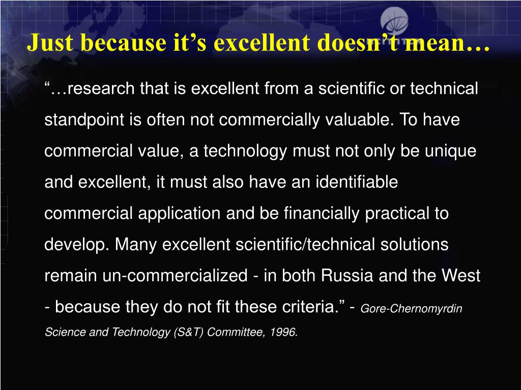 Just because it's excellent doesn't mean…