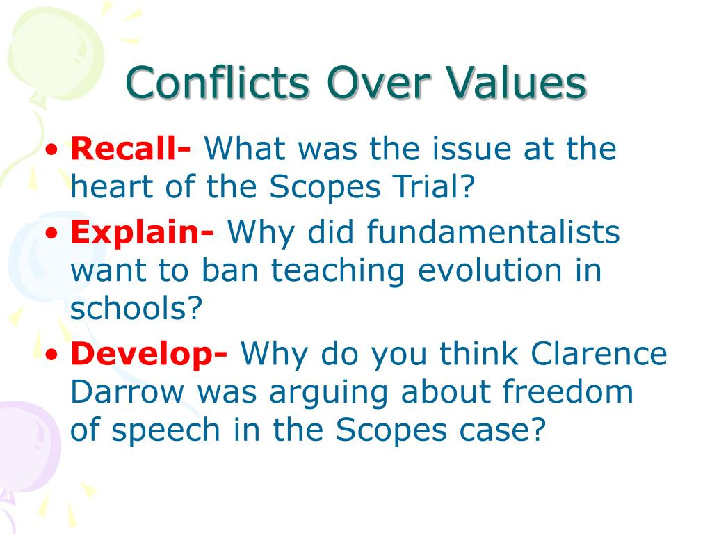Conflicts Over Values
