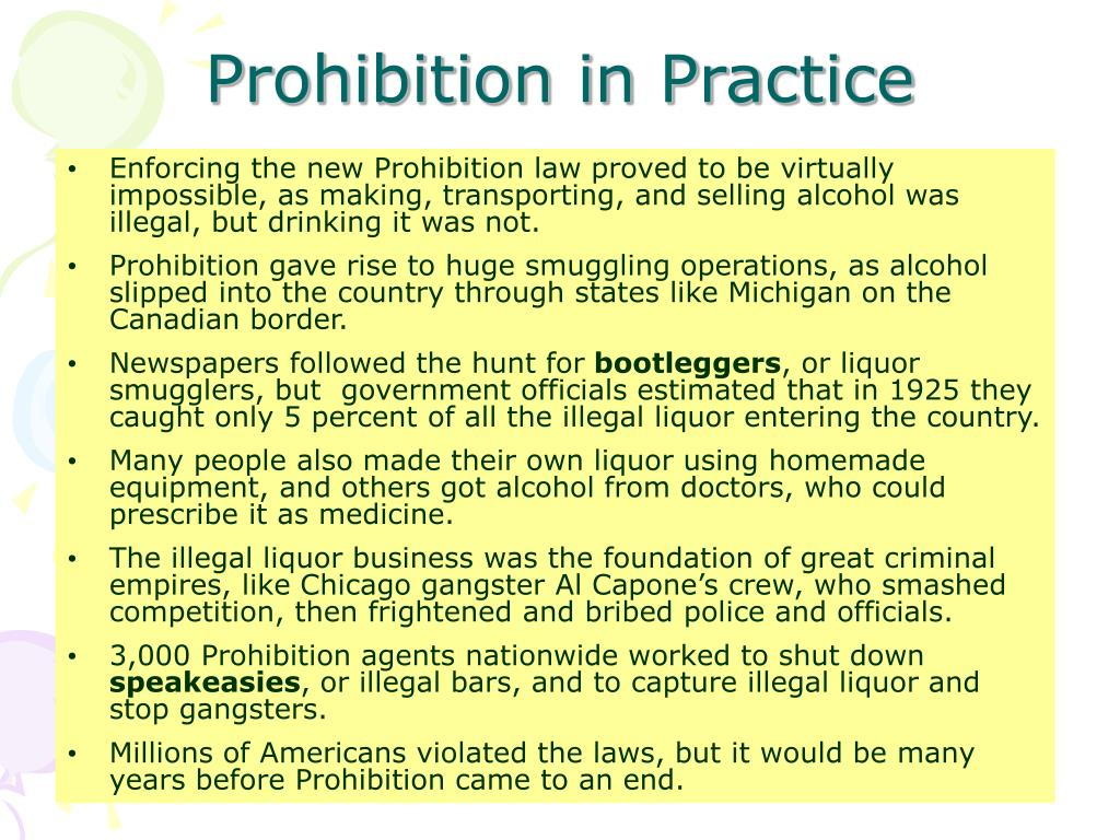 Prohibition in Practice