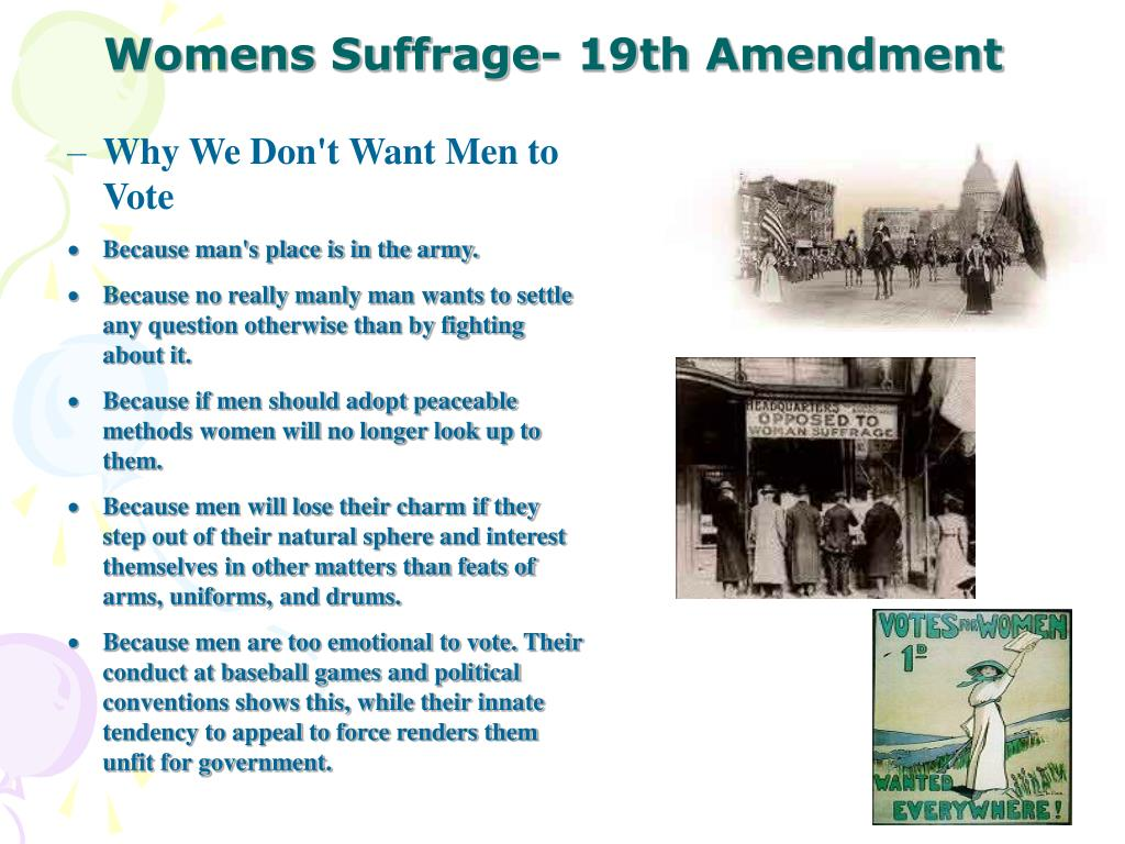 Womens Suffrage- 19th Amendment