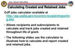 calculating created and retained jobs