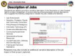 description of jobs