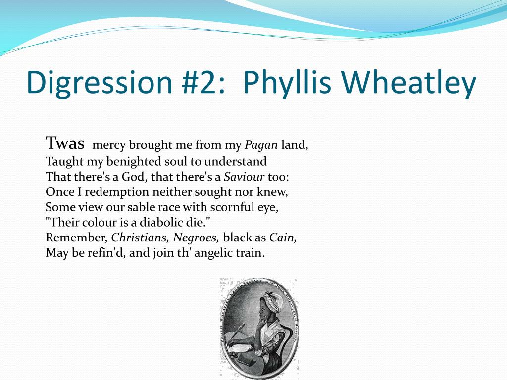 Digression #2:  Phyllis Wheatley
