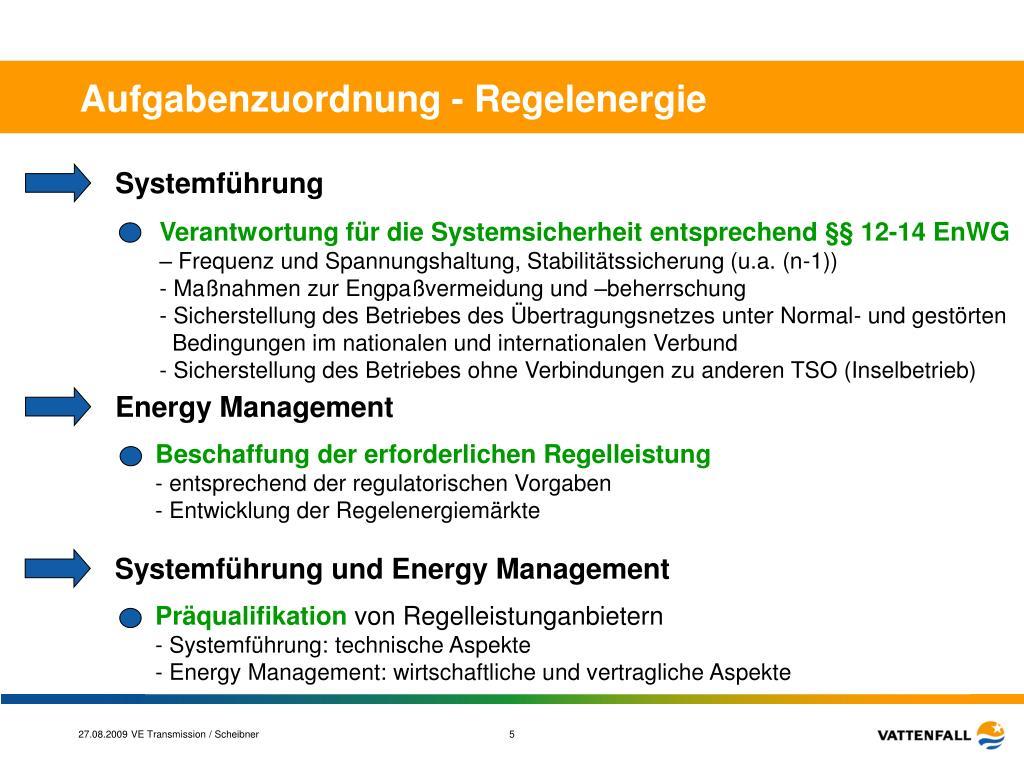 Aufgabenzuordnung - Regelenergie