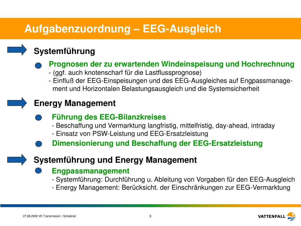 Aufgabenzuordnung – EEG-Ausgleich