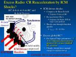 excess radio cr reacceleration by icm shocks
