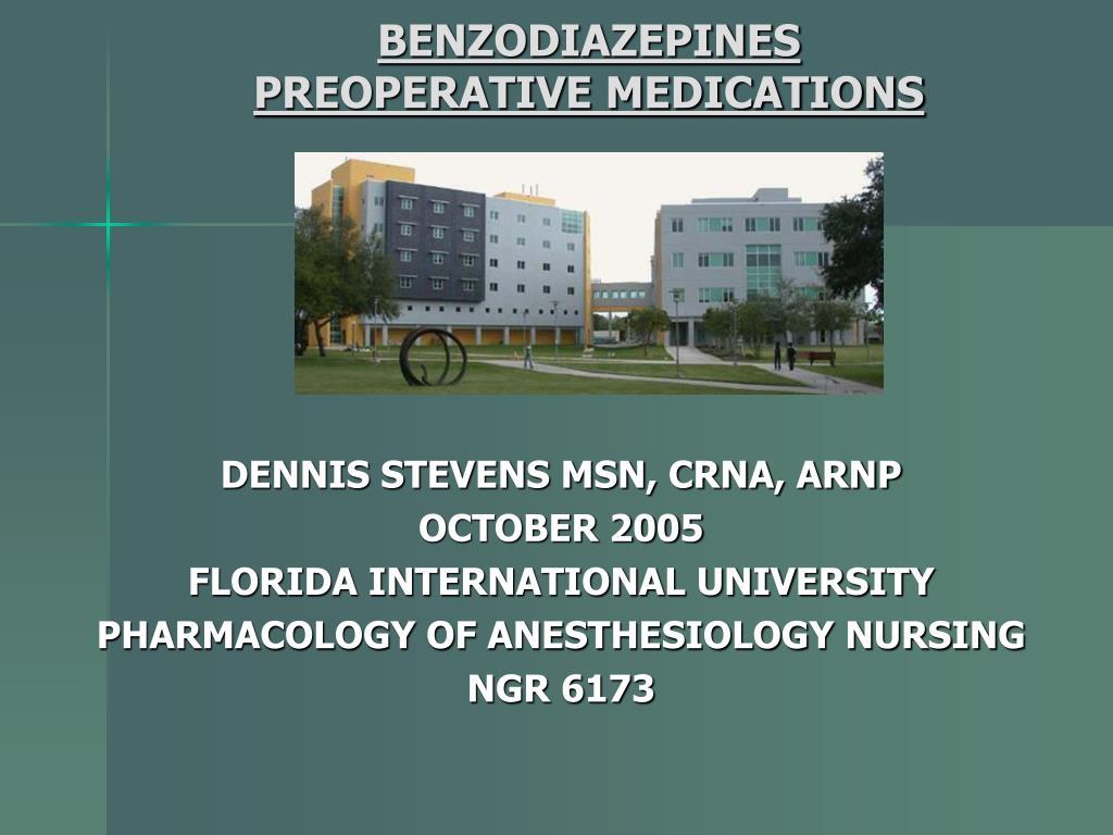 benzodiazepines preoperative medications
