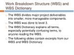 work breakdown structure wbs and wbs dictionary