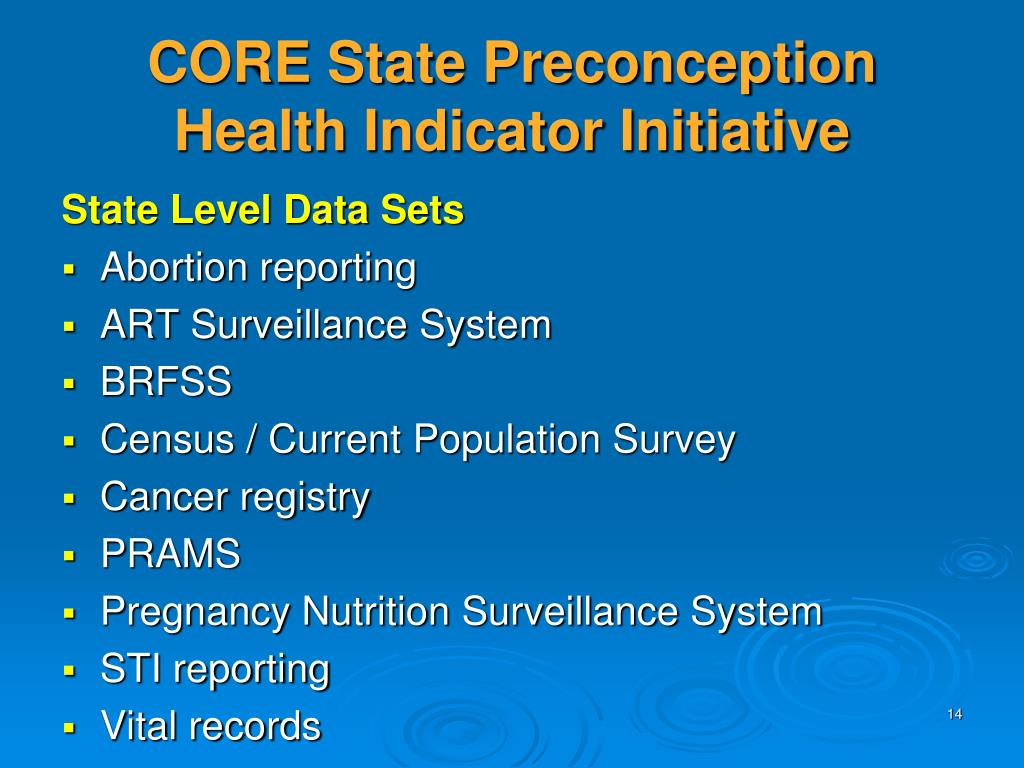 CORE State Preconception Health Indicator Initiative