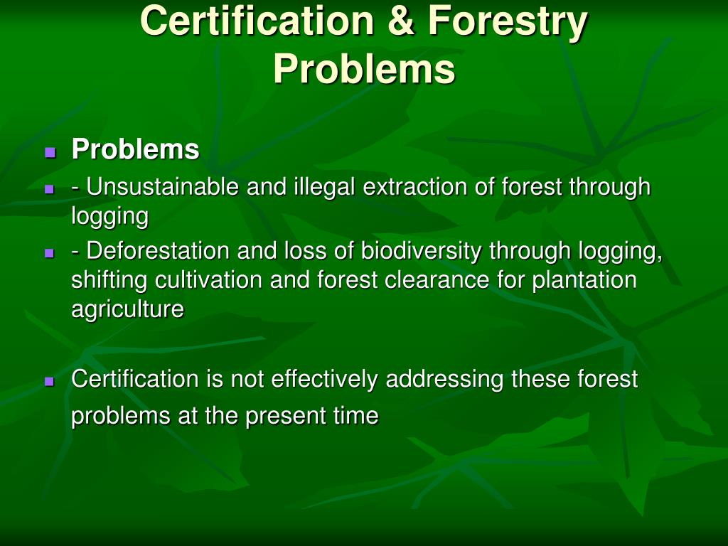 Certification & Forestry Problems