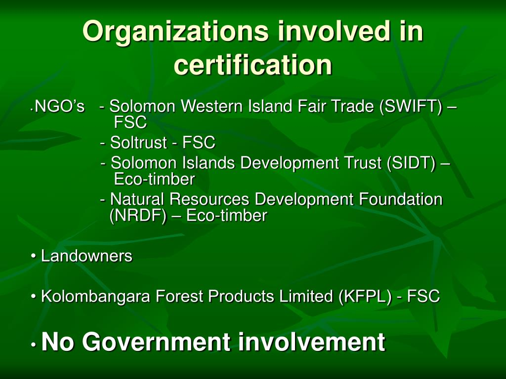 Organizations involved in certification