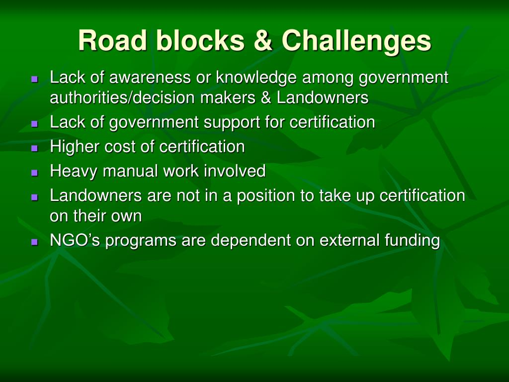 Road blocks & Challenges
