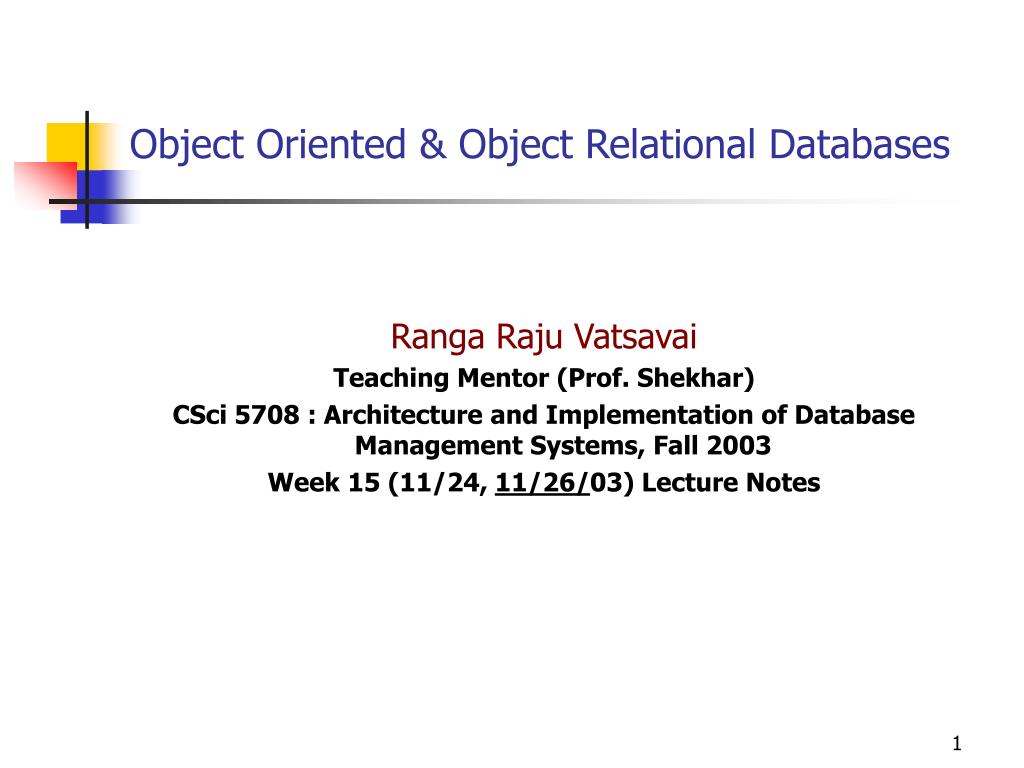 object oriented object relational databases l.