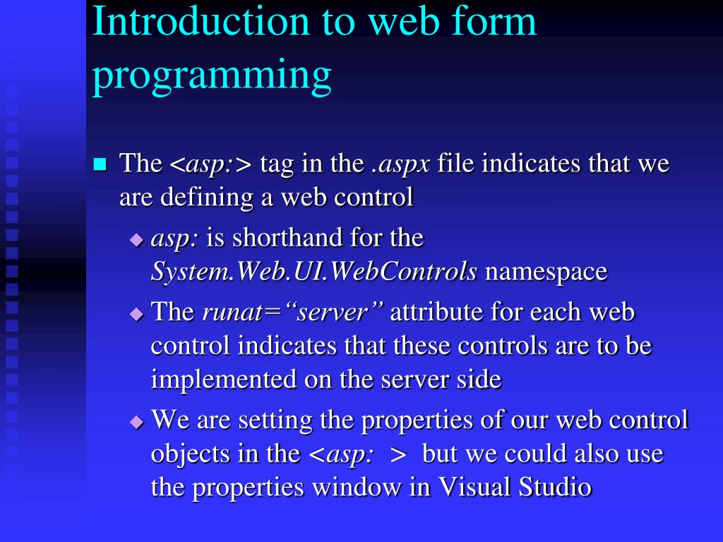 Introduction to web form programming
