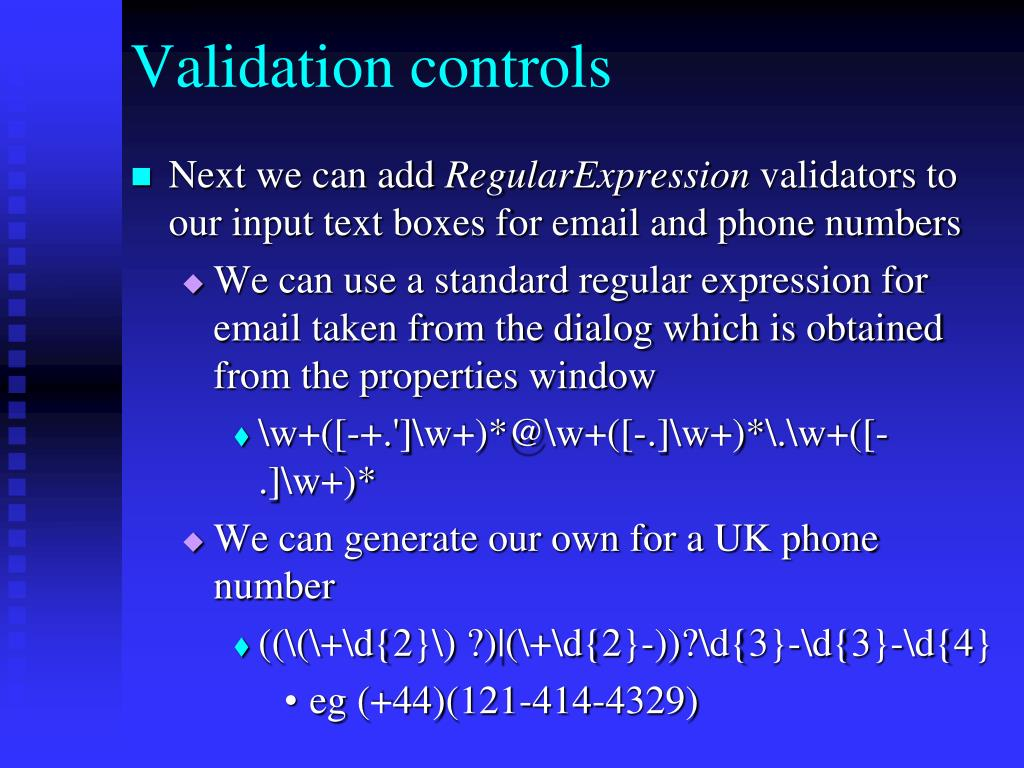 Validation controls