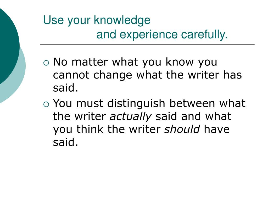 Use your knowledge