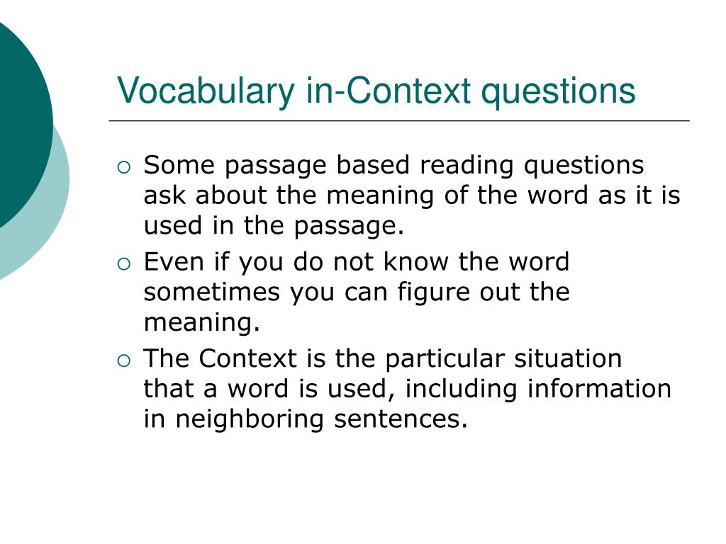 Vocabulary in-Context questions