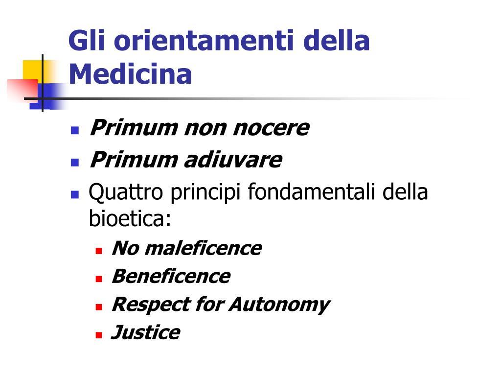 Gli orientamenti della Medicina
