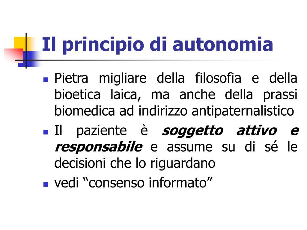 Il principio di autonomia