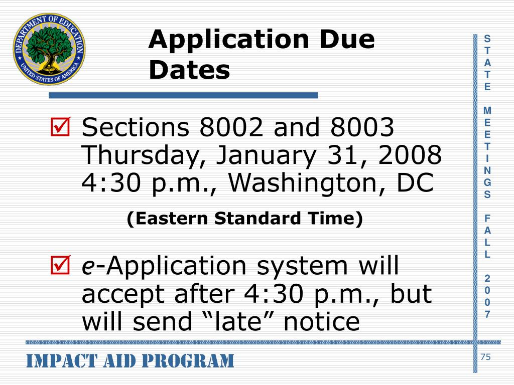 Application Due Dates