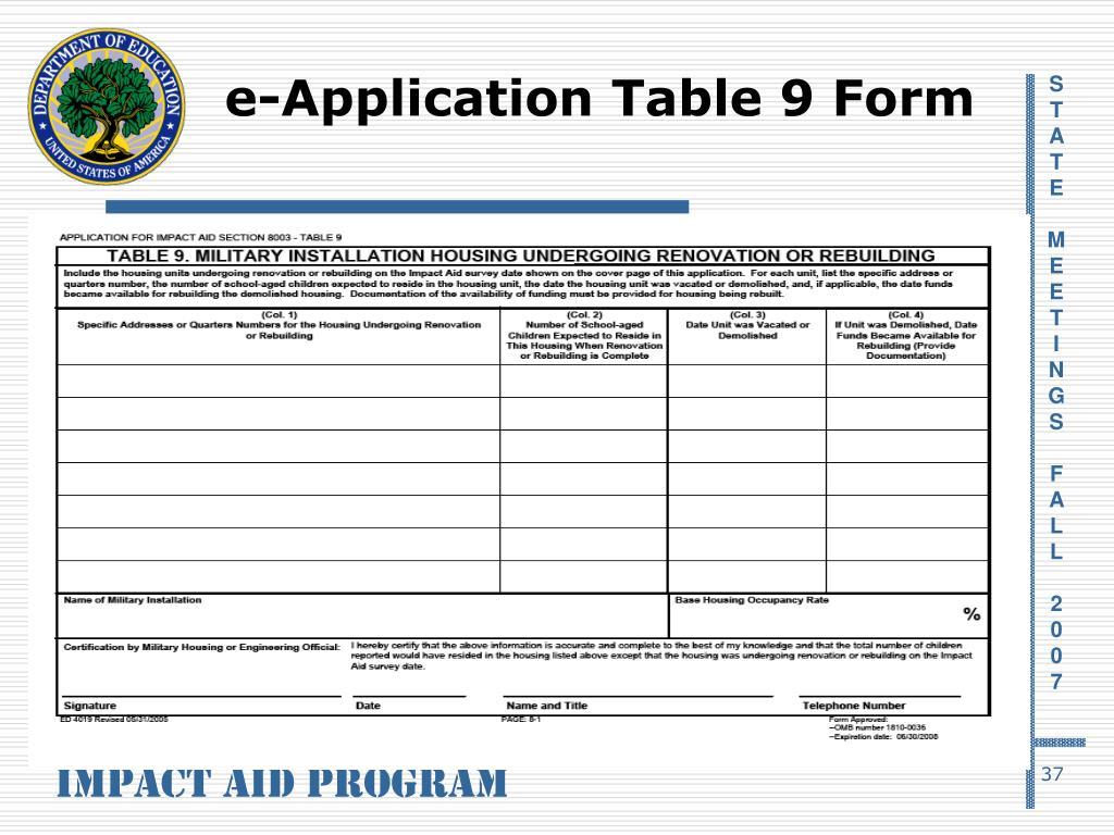 e-Application Table 9 Form