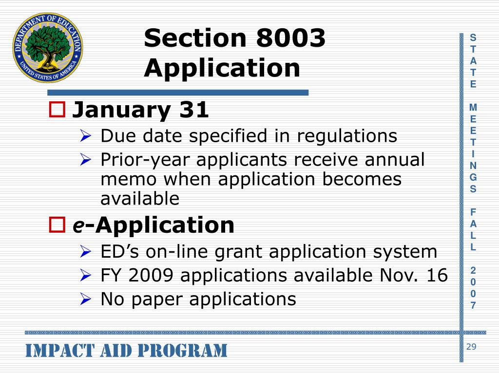 Section 8003 Application