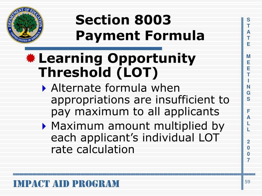Section 8003 Payment Formula